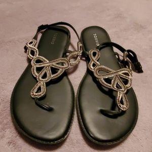 Torrid Black Beaded Sandals